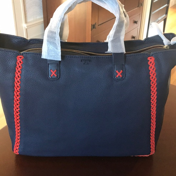 357ab48d16b NWT Tory Burch Whipstitch Med Tote Bag navy